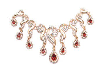 Wall Mural - gold necklace with rubies