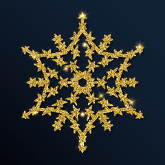 Golden glitter interesting snowflake. Luxurious christmas design element, vector illustration.
