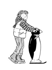 Sketch of child with a penguinon to hold on to a ice rink. Hand drawn illustration
