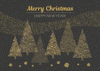 Vector merry Christmas and happy New Year design. Horizontal card with dotted Christmas trees in black and gold colors.
