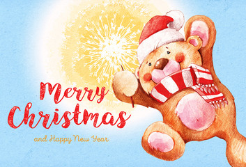 Teddy bear with a sparkler. Santa Claus. Christmas and New Year background. 2017 Merry Christmas and happy New Year greeting card. Place for your text.