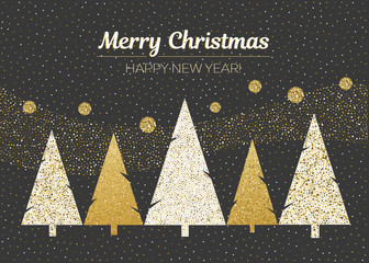 Vector merry Christmas and happy New Year design. Horizontal card with Christmas trees in blackboard with gold and white colors.