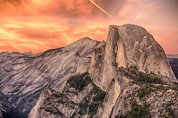 Dramatic Sunset over Half Dome viewed from Glacier Point in Yosemite National Park California Wall mural