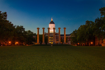 Daybreak at Jesse Hall and the Columns at University of Missouri Mizzou Campus