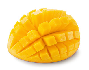 mango cube slices isolated on the white background
