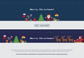Pixel christmas banners set of Santa Claus dancing near christmas tree, red sock, gift and sweets, Santa riding reindeers on xmas sleigh to wish you happy new year. Two website banners with copy space