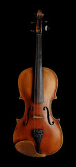 Violin (fiddle) front view isolated on black background with clipping path. String instrument of the violin family.