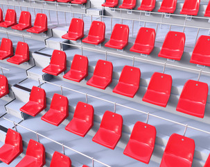 3D Red Isolated Sport Seat Steps. Football Basketball Match Concept