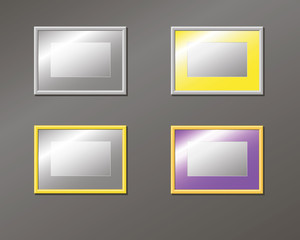 Set horizontal empty frame on the wall, pattern, vector illustration