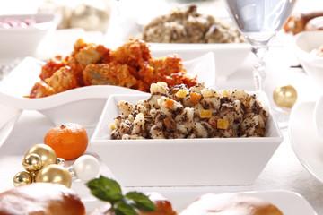 Christmas - festive table - Christmas dinner / dishes
