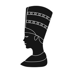 Bust of Nefertiti icon in black style isolated on white background. Ancient Egypt symbol stock vector illustration.