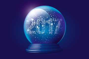 Christmas snow globe with falling snow and night city in 2017 form inside. Editable vector illustration.