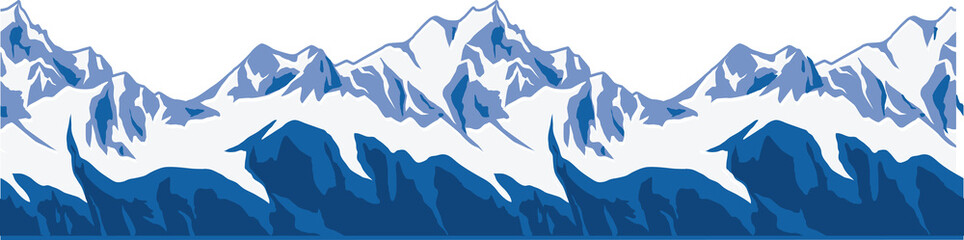 Snow-covered mountains ranges.