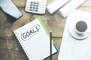 goals text on notebook