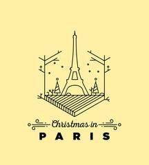 Christmas in Paris Monogram Vector Design Template