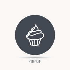 Cupcake icon. Dessert cake sign. Delicious bakery food symbol. Round web button with flat icon. Vector