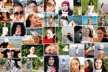 Mosaic mix collage of young people photos shot by myself
