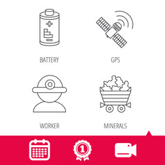Achievement and video cam signs. Worker, minerals and GPS satellite icons. Battery linear sign. Calendar icon. Vector