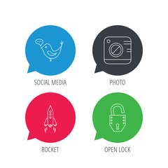 Colored speech bubbles. Photo, social media and rocket icons. Open lock linear sign. Flat web buttons with linear icons. Vector