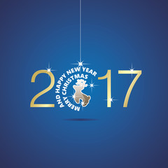 Happy New Year 2017 Christmas ball deer blue vector