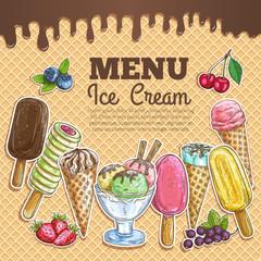 Ice cream menu color sketch on wafer background