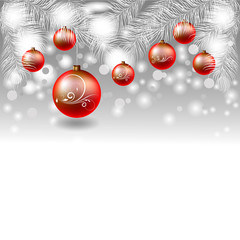 New Year banner with Christmas balls