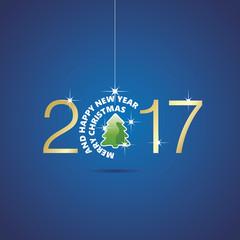Happy New Year 2017 Christmas ball tree blue vector