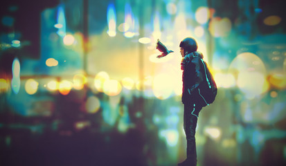 futuristic girl and a bird look each other in the eyes on night city background,illustration painting
