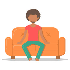 Icon afro man relax on couch in room flat style. Vector logo character on sofa in cartoon style  illustration.