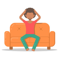 Icon afro man furious on couch in room flat style. Vector logo character on sofa in cartoon style  illustration.