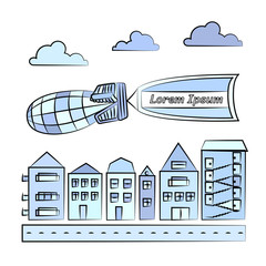 Vector illustration of cityscape with blimp carrying flag. Houses with road, clouds, blimp and flag on white background.