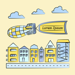 Vector illustration of cityscape with blimp carrying flag. Houses with road, clouds, blimp and flag in blue and yellow colors.