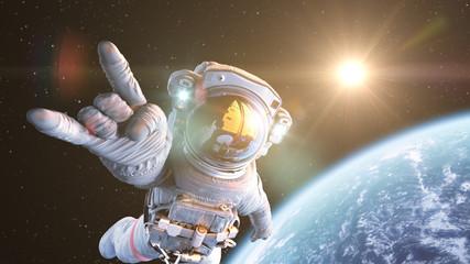Rock`n Space, Astronaut in orbit. 3d render Fototapete