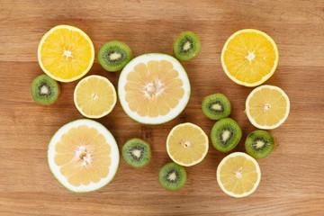 Fruit citrus food on wood background.