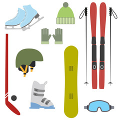 Winter colorful sports icons on white background.