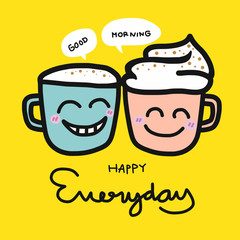 Happy everyday coffee cup cartoon illustration on yellow background