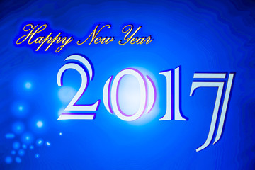 Happy new year 2017 on blue background.