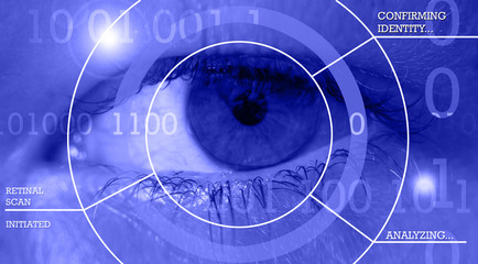 Human eye with computer data. Biometric scanning for identification.