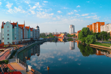 View of Kaliningrad city, Pregolya River, Russia