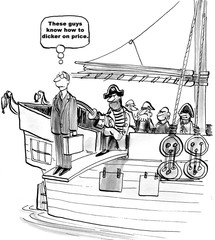 Black and white business cartoon showing pirates making the salesman walk the plank.