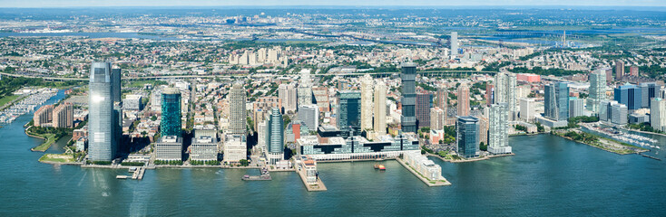 High resolution panoramic view of Jersey City and the Hudson River