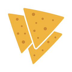 Tortilla chips or nachos tortillas flat color icon for apps and websites