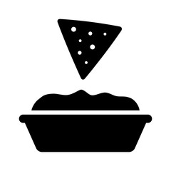 Tortilla chip or nachos tortillas with guacamole dip bowl flat icon for apps and websites