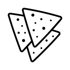 Tortilla chips or nachos tortillas line art icon for apps and websites