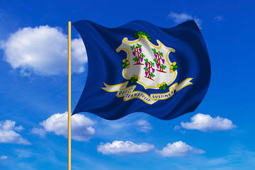Flag of Connecticut waving on blue sky background