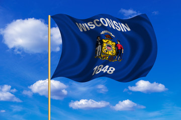 Flag of Wisconsin waving on blue sky background