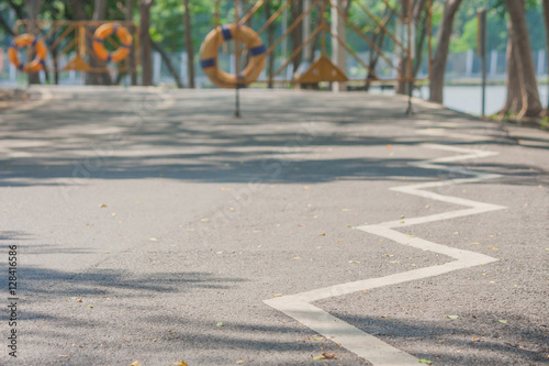 quotthe signs and symbols on bicycle path at public park