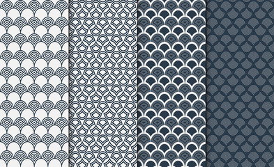 Collection of simple linear geometric pattern textures in shadows of navy blue colors on white background. Set of 4 backgrounds. Seamless repeating chinese style texture set.