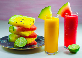 red and yellow watermelon juice is made from fresh watermelon fruit can be consumed as supporting diet program, it is very good for health
