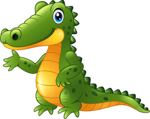 Cartoon crocodile presenting